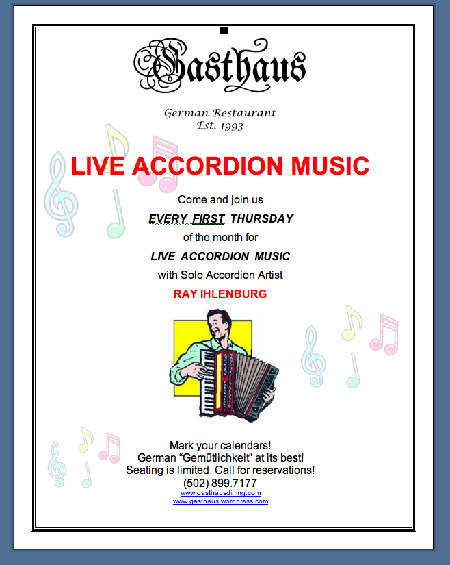 Accodion Music - Tonight, Dec 6!!