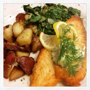 Pan-Seared Tilapia with Roasted Red Skinned Potatoes, Spinach and a Citrus Butter